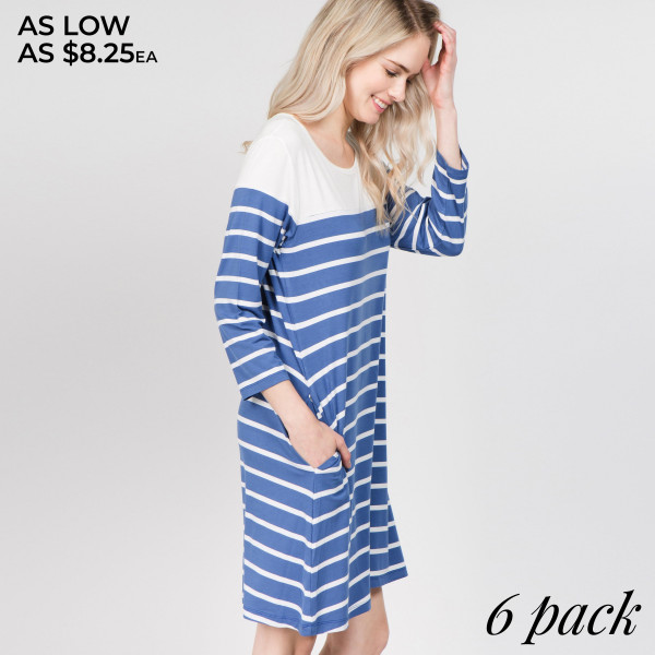 Go from work to play in this versatile striped dress this season. Carry all your must-haves in the two convenient side pockets, so you can truly be hands free. Perfect the cool-weather look layering with a denim jacket and wedges.   • 3/4 sleeves, round neck  • Striped pattern throughout  • Two open side pockets holds keys/cash/phone  • Knee length swing hem  • Very soft, stretchy  • Pull over styling  • Imported   Content: 95% Rayon and 5% Spandex  Pack Breakdown: 6pcs/pack. 2S: 2M: 2L