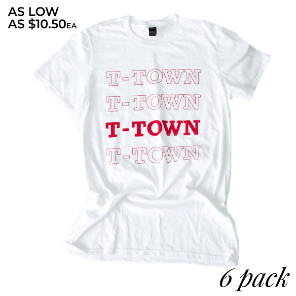 T-TOWN - Short Sleeve Boutique Graphic Tee. These t-shirts are sold in a 6 pack. S:1 M:2 L:2 XL:1 35% Cotton 65% Polyester Brand: ANVIL