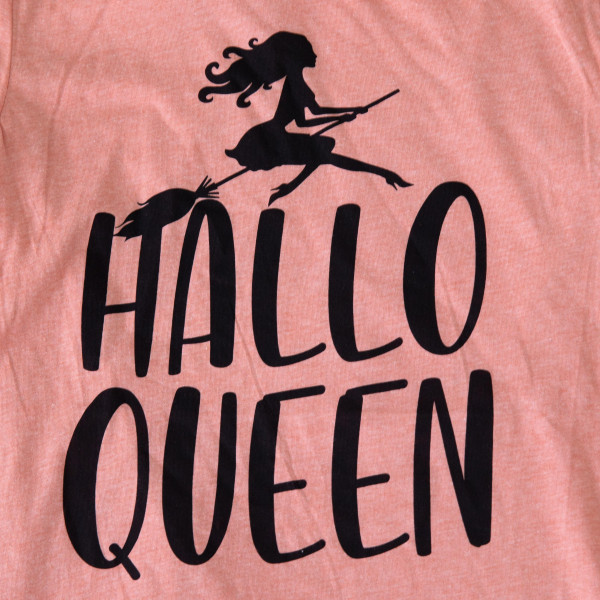 HALLO QUEEN - Short Sleeve Boutique Graphic Tee. These t-shirts are sold in a 6 pack. S:1 M:2 L:2 XL:1 35% Cotton 65% Polyester Brand: CANVAS