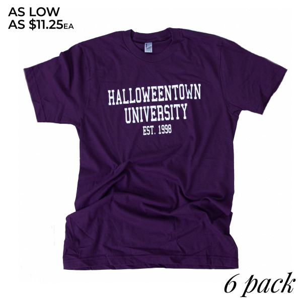 HALLOWEENTOWN UNIVERSITY - Short Sleeve Boutique Graphic Tee. These t-shirts are sold in a 6 pack. S:1 M:2 L:2 XL:1 35% Cotton 65% Polyester Brand: AMERICAN APPAREL