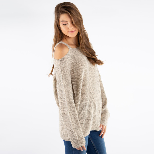 Soft knit sweater. One Size, Fits SM-LG. Made with 55% Acrylic and 45% Polyester.