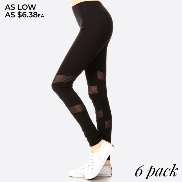 Turn your morning jog into a fashion show with the Stylish Stride black leggings! These stretch knit leggings have a wide waistband atop skinny pant legs with angular panels of sheer mesh.   - Long, skinny leg design - Power mesh insets at sides - Thick, comfortable waistband. - Side mesh pockets - Moisture Management - Pull-on styling; thick elastic waistband - Polyester/Spandex - Hand Wash Cold. Do not bleach. Hang Dry - Imported Composition: 92% Polyester 8% Spandex  Pack Breakdown: 6pcs/pack.  2S: 2M: 2L