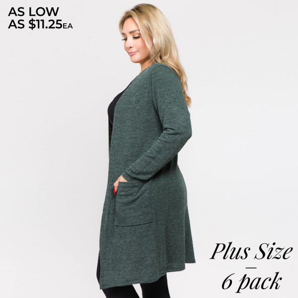 "Solid color thin knit plus size cardigan with front pocket details.  - Long sleeves; open front  - Two Open Side Pockets, Keeps Loose Items At Hand  - Longline hem  - Soft and stretchy knit fabric  - Breathable design  - Imported  - Pack Breakdown: 6pcs / pack  - Sizes: 2-XL / 2-2XL / 2-3XL - Approximately 36"" L - 80% Polyester, 16% Cotton, 4% Spandex"