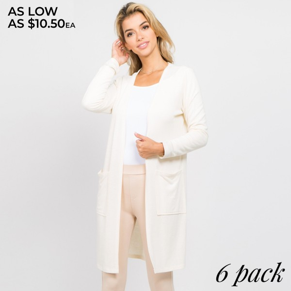Solid color thin knit cardigan with pocket details.  - Long sleeves; open front  - Two Open Side Pockets, Keeps Loose Items At Hand  - Longline hem  - Soft and stretchy knit fabric  - Breathable design  - Imported    - Pack Breakdown: 6pcs / pack - Sizes: 2S / 2M / 2L  - 80% Polyester, 16% Cotton, 4% Spandex