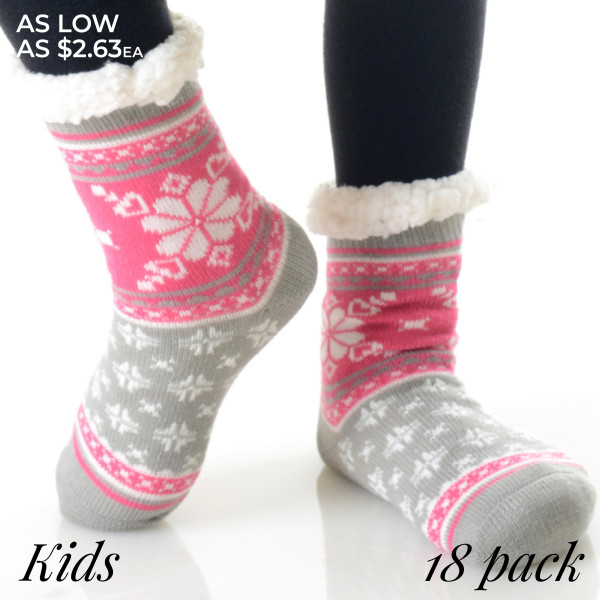 These thick knit slipper socks for kids feature adorable characters and a soft, faux sherpa lining to keep you warm! 