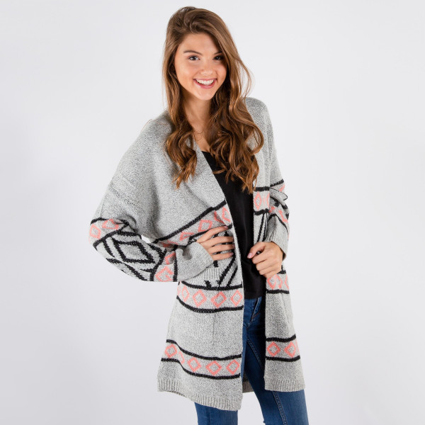 Nice heavy weight open sweater with mixed designs.  One size fits most. (S-L).