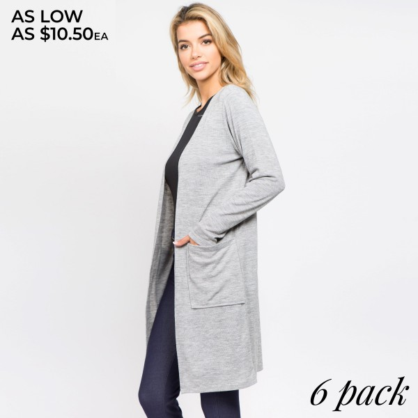 Solid color cozy long sleeve cardigan with front pocket details.  - Long sleeves; open front  - Two Open Side Pockets, Keeps Loose Items At Hand  - Longline hem  - Soft and stretchy knit fabric  - Breathable design  - Imported    - Pack Breakdown: 6pcs / pack - Sizes: 2S / 2M / 2L  - 80% Polyester, 16% Cotton, 4% Spandex