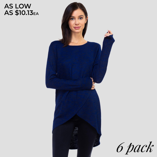 This sporty tunic top is perfect for those low-key days when you want to lounge but still look cute!   • Comfortable long sleeves, crewneck  • Space dye knit pattern for sporty style  • Faux wrap surplice front, tulip hem  • Soft, stretchy knit fabric has soft-hand feel  • Lightweight  • Imported   - Pack Breakdown: 6pcs / pack   - Sizes: 2S / 2M / 2L