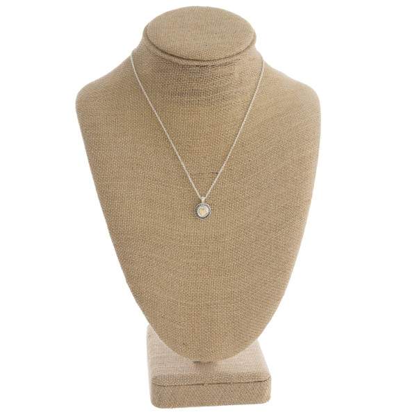 """Long necklace with pendant and engraved message. Approximate 16"""" in length with 1/2"""" pendant."""