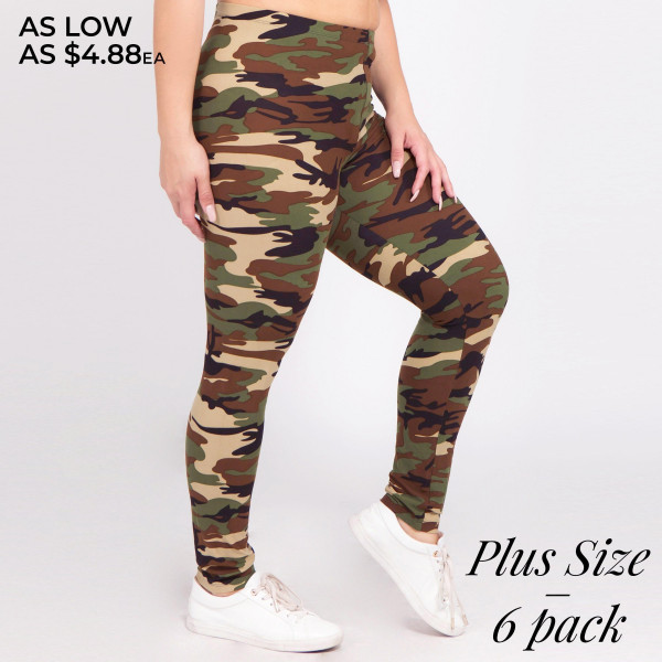 Cute in camo! A pair of camouflage print leggings, featuring a stretch-knit fabric with a classic camo print look that's sure to please! Leggings are made with a banded waist, body-hugging fit, and finished hem at the ankles.   • Long, skinny leg design  • Mid-Waist  • Camouflage Print  • Pull-on styling  • Hand Wash Cold. Do not bleach. Hang Dry  • Imported   Composition: 95% Polyester, 5% Spandex   Pack Breakdown: 6pcs/pack. PLUS SIZE
