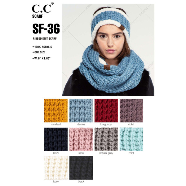 """C.C SF-36 Ribbed knit scarf   - 100% Acrylic - One size fits most - W:8"""" X L:60"""""""