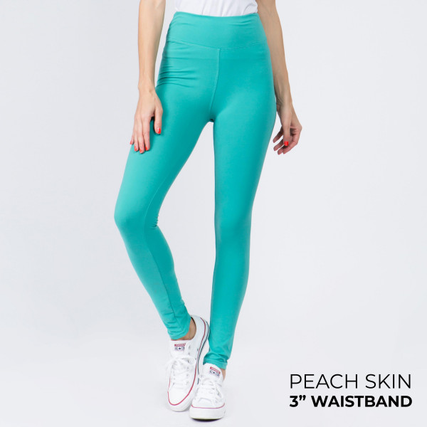 "Women's New Mix Brand Solid Peach Skin Leggings.  - 3"" Elastic Waistband - Full-Length - Inseam approximately 28""  - One size fits most 0-14 - 92% Polyester / 8% Spandex"