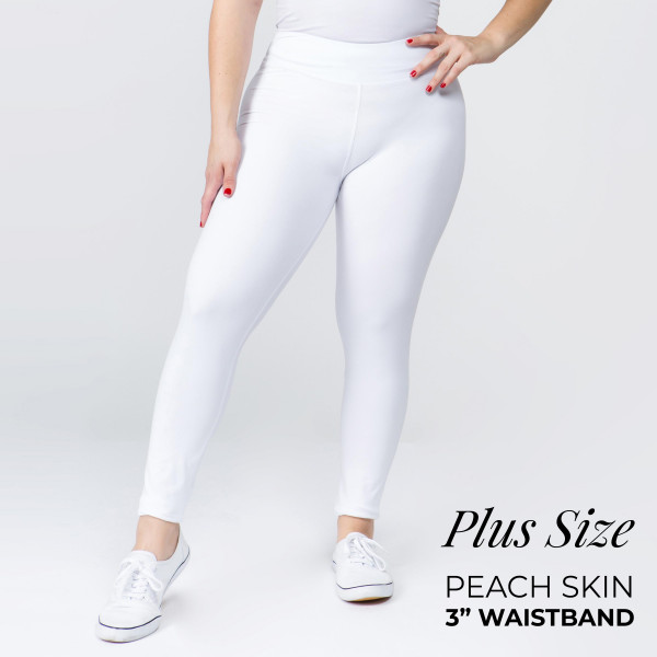 "These plus size New Mix Brand peach skin leggings are seamless, chic, and a must-have for every wardrobe. These lightweight, full-length leggings have a 3"" waistband. They are versatile, perfect for layering, and available in many colors. 92% Polyester 8% Spandex. One size fits most women's plus 16-20."