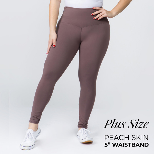 "These plus size New Mix Brand peach skin leggings are seamless, chic, and a must-have for every wardrobe. These lightweight, full-length leggings have a 5"" waistband. They are versatile, perfect for layering, and available in many colors. 92% Polyester 8% Spandex. One size fits most, fits US women's 16-20."