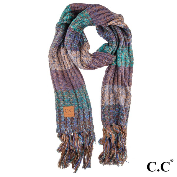 SF-1816 C.C Multi color knitted scarf. 100% Acrylic-One size- 13w X 97l + Fringe 7""