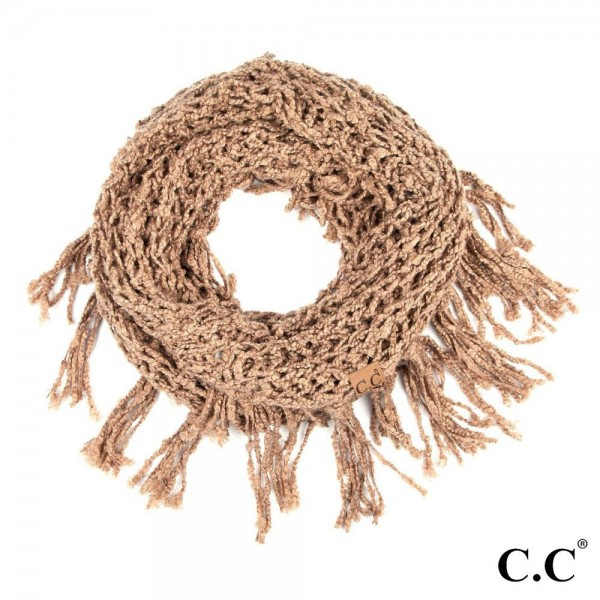 Inf-100 C.C chenille infinity scarf with tassel. 100% Polyester-one size 12w X 60l