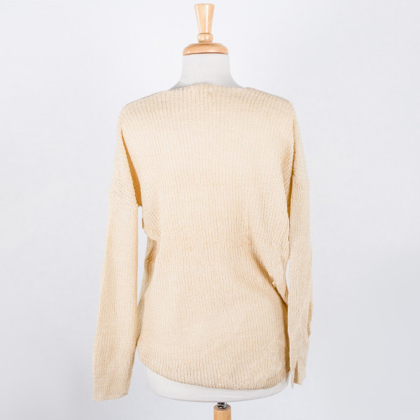 Grab you one of these gorgeous cozy wide V neck knit sweater. Approximate 55% Acrylic and 45% Cotton.