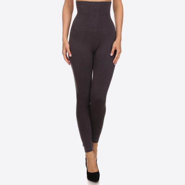 "High Waist Cotton Compression Leggings. Tummy Control for extra hold. These high waist leggings have a compression control top that flattens your tummy and contours your waistline for an hourglass silhouette.   - Long, skinny leg design  - Does not ball or pill  - Comfortable and easy pull-on style  - Solid color  - Very Stretchy   - Tummy Control  - Hight Waist  - 8"" Waist Band, 37"" Full Length   - One size fits most 0-14 - Composition: 50% Cotton, 45% Polyester, 5% spandex"