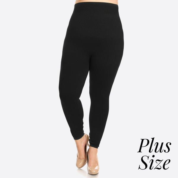 "High Waist Cotton Compression Leggings. Tummy Control for extra hold. These high waist leggings have a compression control top that flattens your tummy and contours your waistline for an hourglass silhouette.   - Long, skinny leg design  - Does not ball or pill  - Comfortable and easy pull-on style  - Solid color  - Very Stretchy  - Tummy Control  - Hight Waist  - 8"" Waist Band, 37"" Full Length   One size fits most 16-22.  Content: 50% Cotton, 45% Polyester, 5% spandex"