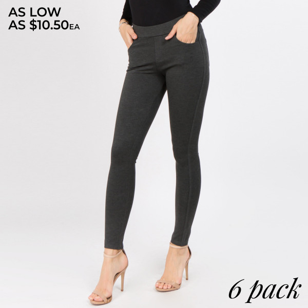 Dress to impress in these ponte knit slim pants. With a skinny leg design and easy pull-on style, they're the picture of work-to-weekend chic.   • Elastic at Waist  • Functional Front & Back Pockets  • Skinny Fit  • Pull-Up Style  • Mid Rise  • Care: Machine Wash Cold, Do not Bleach, Tumble Dry Low, Iron Low  • Imported   Composition: 65% Rayon, 35% Nylon, and 5% Spandex   Pack Breakdown: 6pcs/pack. 2S: 2M: 2L