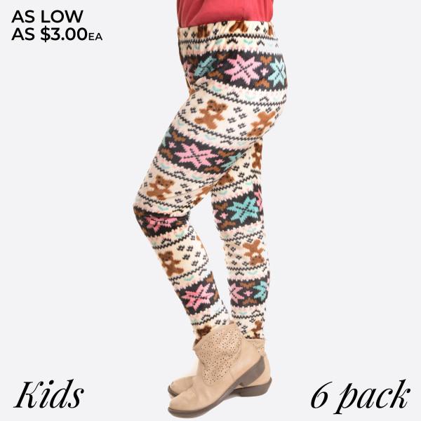 KIDS- Super soft stretch velour teddy bear print leggings for kids.  Small: 3/4 Medium: 5/6 Large: 7/8  Composition: 95% Polyester/ 5% Spandex   Pack Breakdown: 6pcs/pack. 2S: 2M: 2L