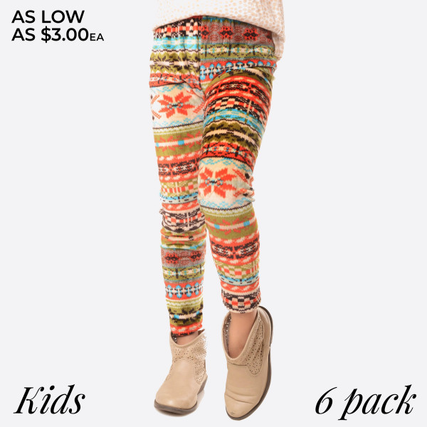 KIDS- Super soft stretch velour Fair Isle style print leggings for kids.  Small: 3/4 Medium: 5/6 Large: 7/8  Composition: 95% Polyester/ 5% Spandex   Pack Breakdown: 6pcs/pack. 2S: 2M: 2L