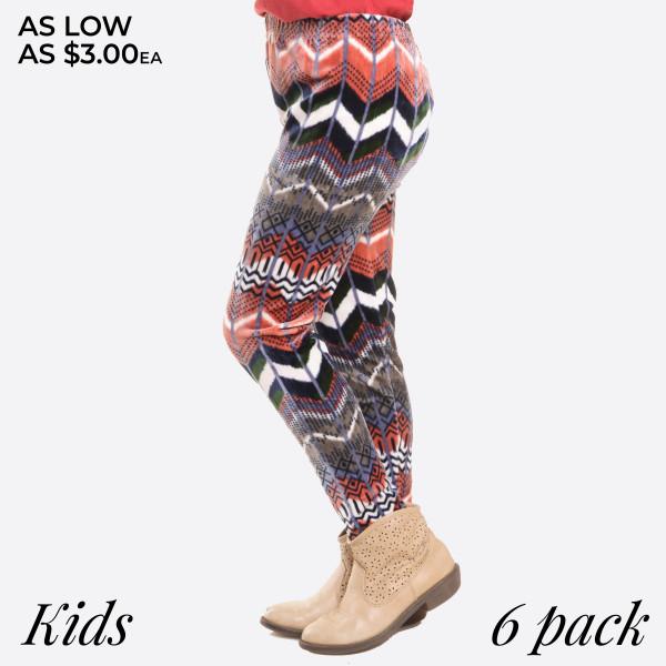 KIDS- Super soft stretch velour tribal printed leggings for kids.  Small: 3/4 Medium: 5/6 Large: 7/8  Composition: 95% Polyester/ 5% Spandex   Pack Breakdown: 6pcs/pack. 2S: 2M: 2L