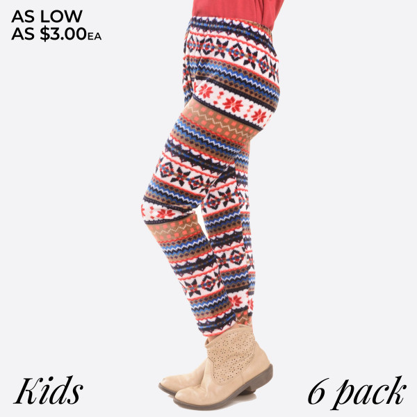 KIDS- Super soft stretch velour intarsia snowflake printed leggings for kids.  Small: 3/4 Medium: 5/6 Large: 7/8  Composition: 95% Polyester/ 5% Spandex   Pack Breakdown: 6pcs/pack. 2S: 2M: 2L