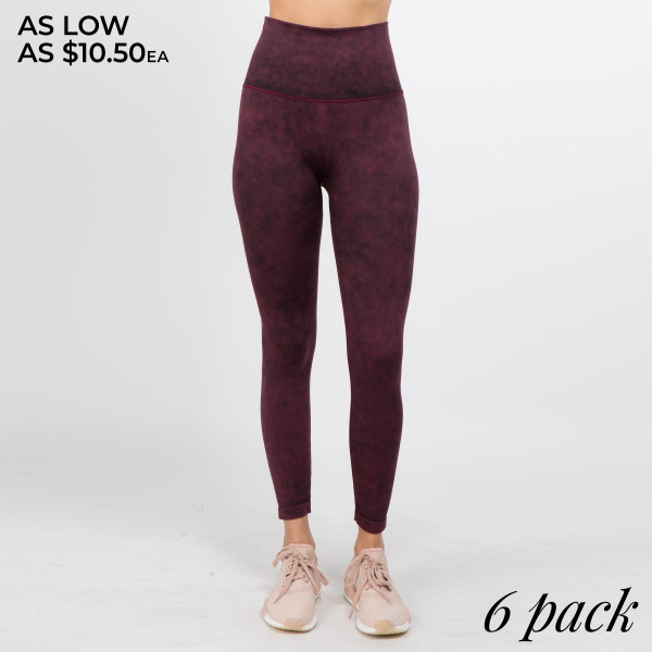 Get a blast from the past in these 80's inspired acid wash workout leggings, complete with a high waistband and ankle length hem.   • Thick, comfortable high waistband  • Specialty acid wash rinse throughout  • Ankle length hem  • Moisture wick fibers keep you cool  • Stretchy, breathable knit fabric  • Streamline look  • Imported   Content: 92% Nylon, 8 Spandex   Pack Breakdown: 6pcs/pack. 2S: 2M: 2L