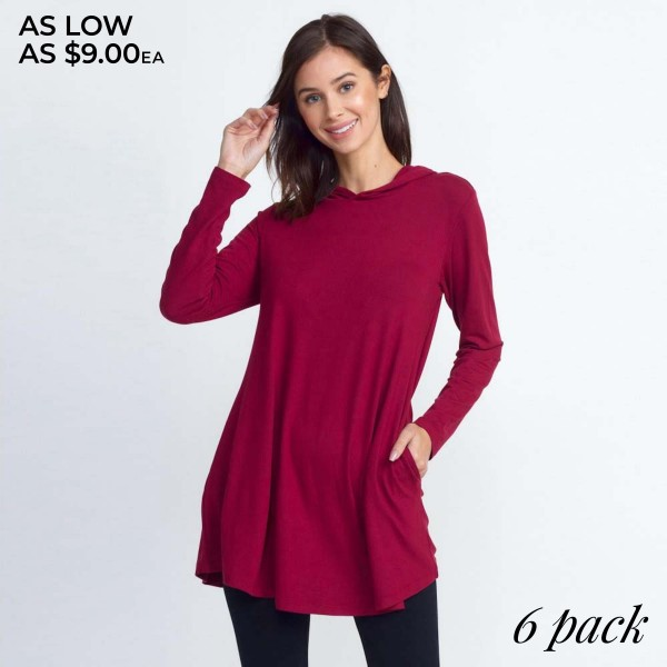 Slip on this hoodie tunic top to keep cozy on those chilly days!   • Long sleeves, crew neck with hoodie on back  • Two functional side pockets  • Long scoop hem  • Soft and stretchy knit fabric  • Imported   Composition: 95% Polyester, 5% Spandex   Pack Breakdown: 6pcs/pack. 2S: 2M: 2L