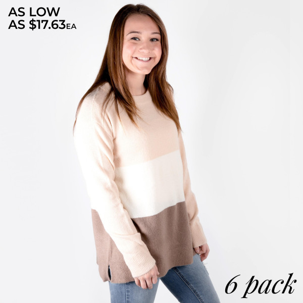 Be sure to keep warm with this multi color sweater.  65% Acrylic 30% Nylon 5% Spandex. Comes in a six pack.  S-2 M-2 L-2