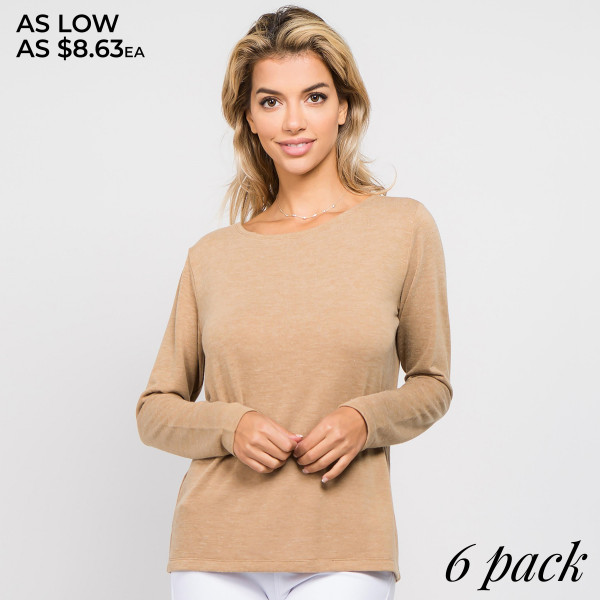Long sleeves frame the relaxed fit of this top, with a stunning surplice back for added allure. Layer this top over your favorite lace or sports bra styles.   • Long sleeves; round neckline  • Round neckline  • Open surplice back w/ t-strap design  • Straight fit hem  • Soft and stretchy  • Lightweight  • Imported   Composition: 80% Polyester, 16% Cotton, 4% Spandex    Pack Breakdown: 6pcs/pack. 2S: 2M: 2L
