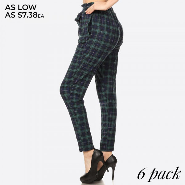 GREEN, NAVY PLAID PRINT, SEMI HAREM LOOSE FIT PANTS WITH POCKETS ON SIDES, A FRONT SELF TIE, AND RUFFLED PAPER BAG WAIST.   SIZE:S-M-L-XL(1-2-2-1) PACKAGE:6PCS/PREPACK 92%POLYESTER  8%SPANDEX