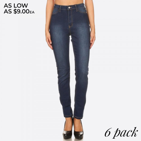 Distressed dark wash skinny jean jeggings with button and zipper.  - Body shaping silhouette - Classic jean closure style   Composition:  Pack Breakdown: 6pcs/pack. 2S: 2M: 2L