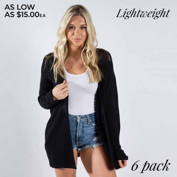 Long sleeve cardigan. 100% Acrylic Come in a 6 pack. Sizes- 3-S/m, 3-M/l