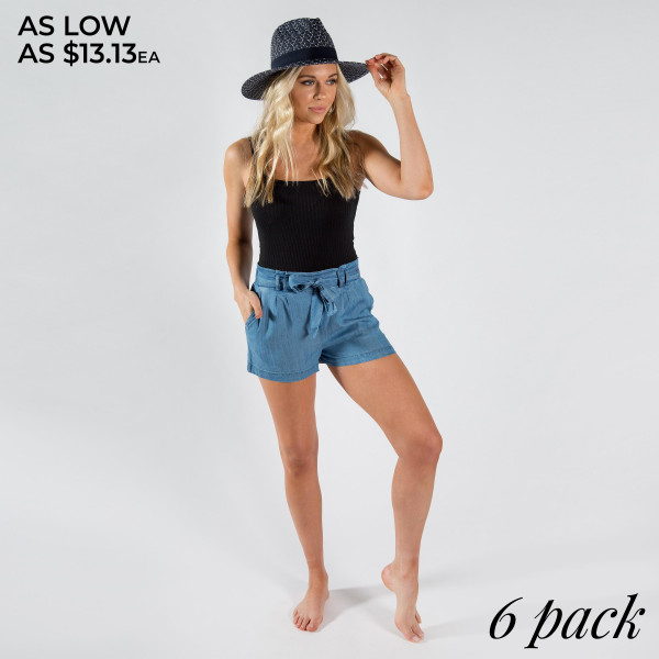 Pull up shorts with adjustable waist tie with pockets.  100% Rayon Sizes: 2S/2M/2L
