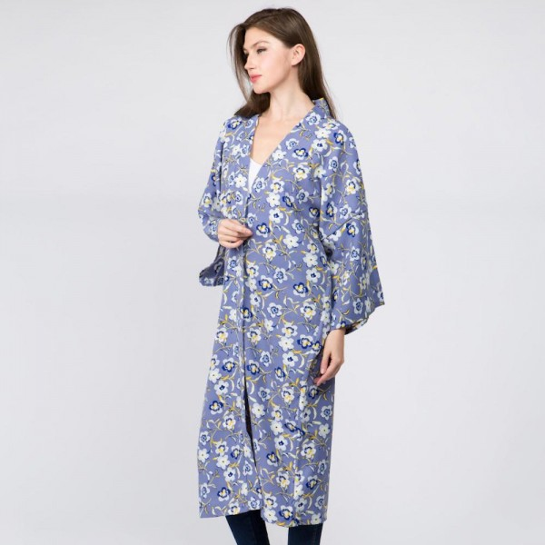 Long kimono with flower prints. Approximate 100% polyester. Fits most 0-14.