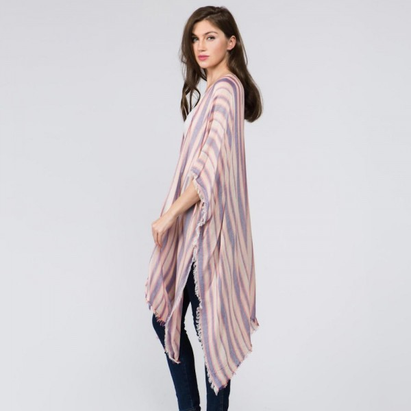 Light weight striped kimono with fringes. 100% viscose.