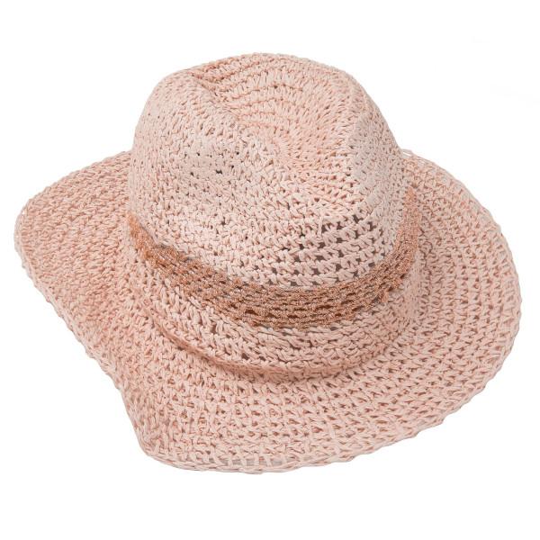 Brim hat with metallic strap. One size. 90% paper, 10% metallic.