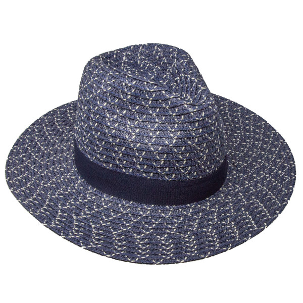 Brim sun hat with adjustable circumference with black ribbon. 85% paper, 15% polyester.