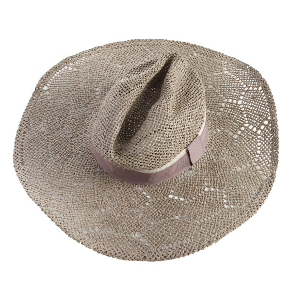 "Natural open weave wide brim Panama. Approximate 12"" in length. One size. 100% paper exclusive of decorations."