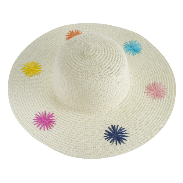 """Wide-brim floppy beach hat. 100% paper. Brim measures 4"""" in width and hat is 16"""" in total diameter. This hat is crushable/packable and able to hold it's shape. UPF 50+"""
