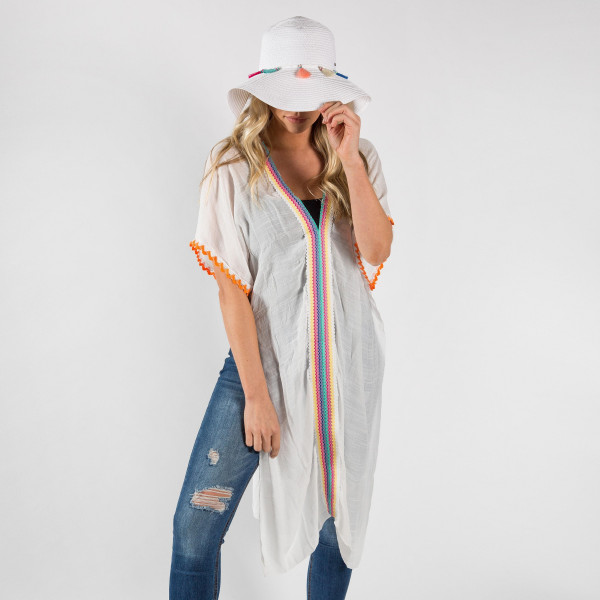 Light-weight multi color with knit cover-up. 100% viscose.