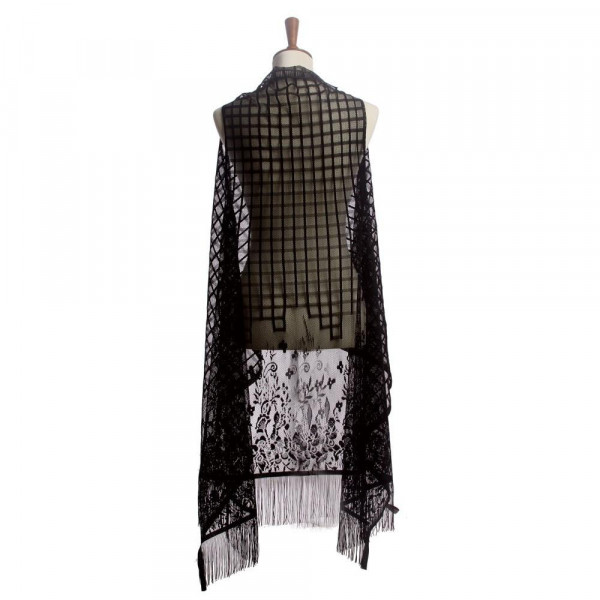 """Lightweight lace kimono vest featuring a floral print and fringe details. Approximately 43"""" in length.   One size fits most 0-14.  Composition: 100% Polyester."""