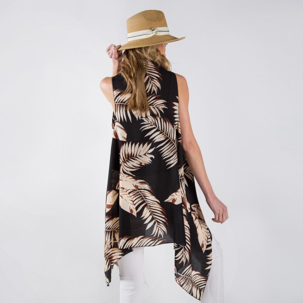 Black vest/cover up with palm leaves. One size fits most 0-14. 100% polyester.