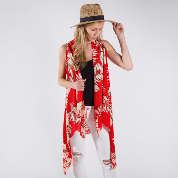 Red vest/cover up with palm leaves. One size fits most 0-14. 100% polyester.