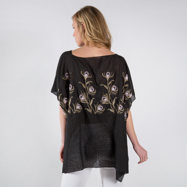 Flower embroidery cover-up. 