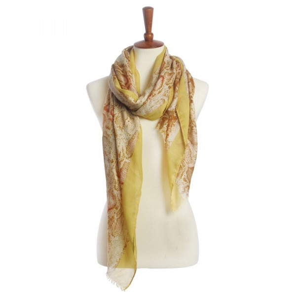"Light weight snake skin scarf with fringes. Approximate 72"" X 20"" in length. 100% polyester"