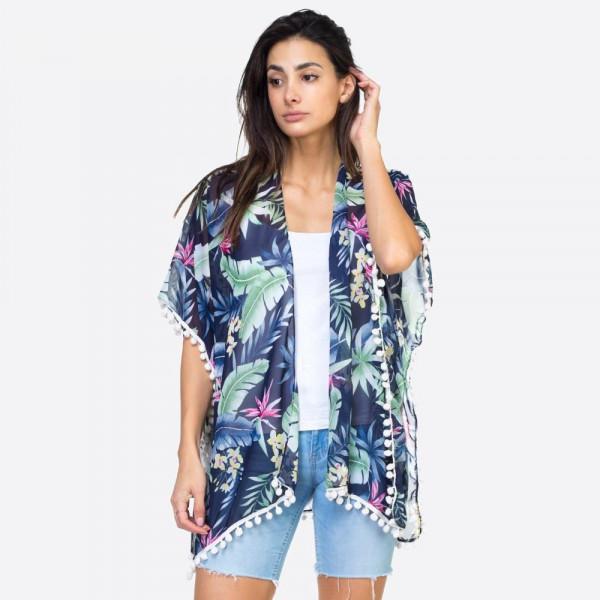 """Tropical leaves pompom kimono.  39""""X27"""" 100% POLYESTER"""