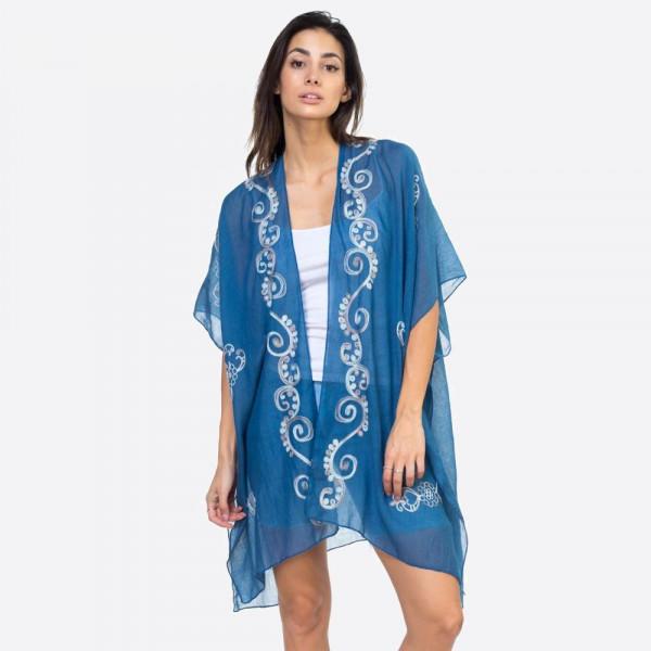 """Eastern embroidered kimono.  35""""X35"""" 100% POLYESTER"""